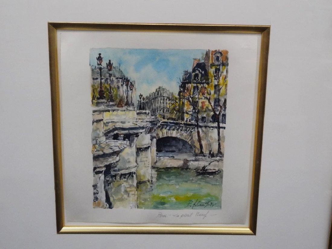 Pierre Cambier Watercolor Paris LePont Neuf Signed