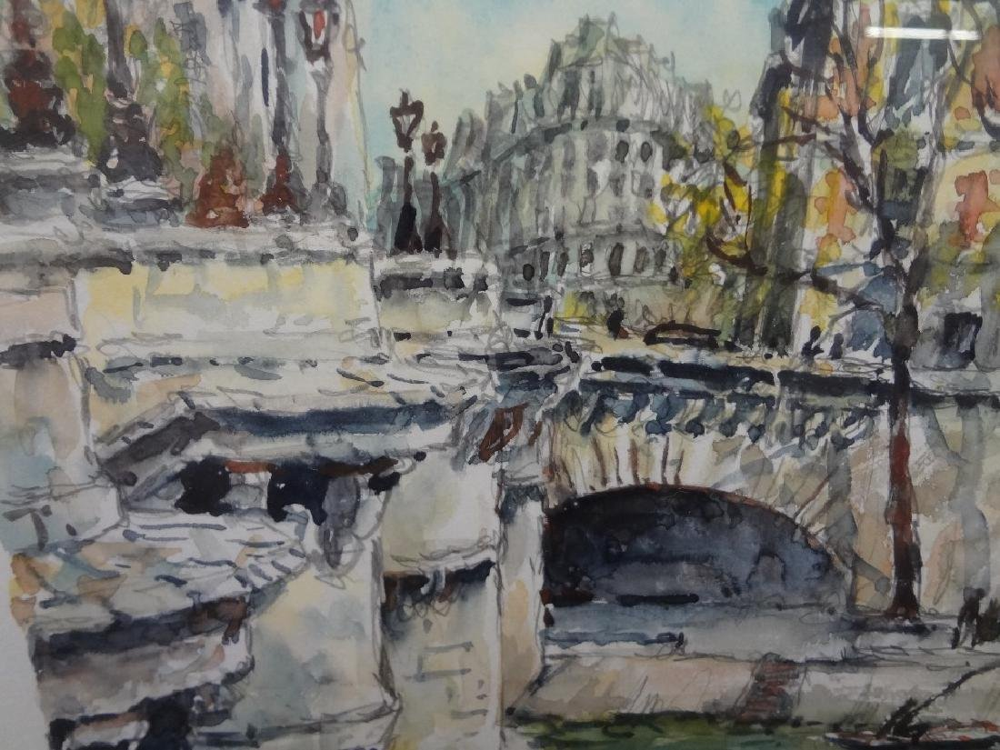 Pierre Cambier Watercolor Paris LePont Neuf Signed - 3