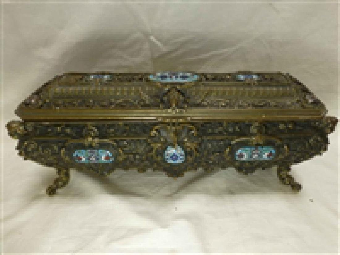 Cloisonne Decorated Stamp Snuff Metal Box