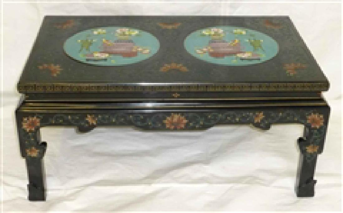 Chinese Black Lacquer Low Table Cloisonne Medallions