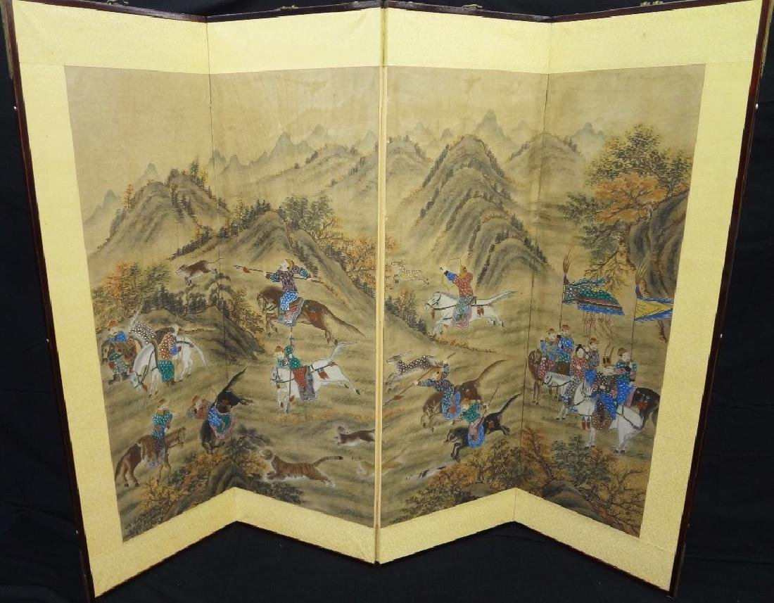 Chinese Four Panel Hand Painted Screen Landscape