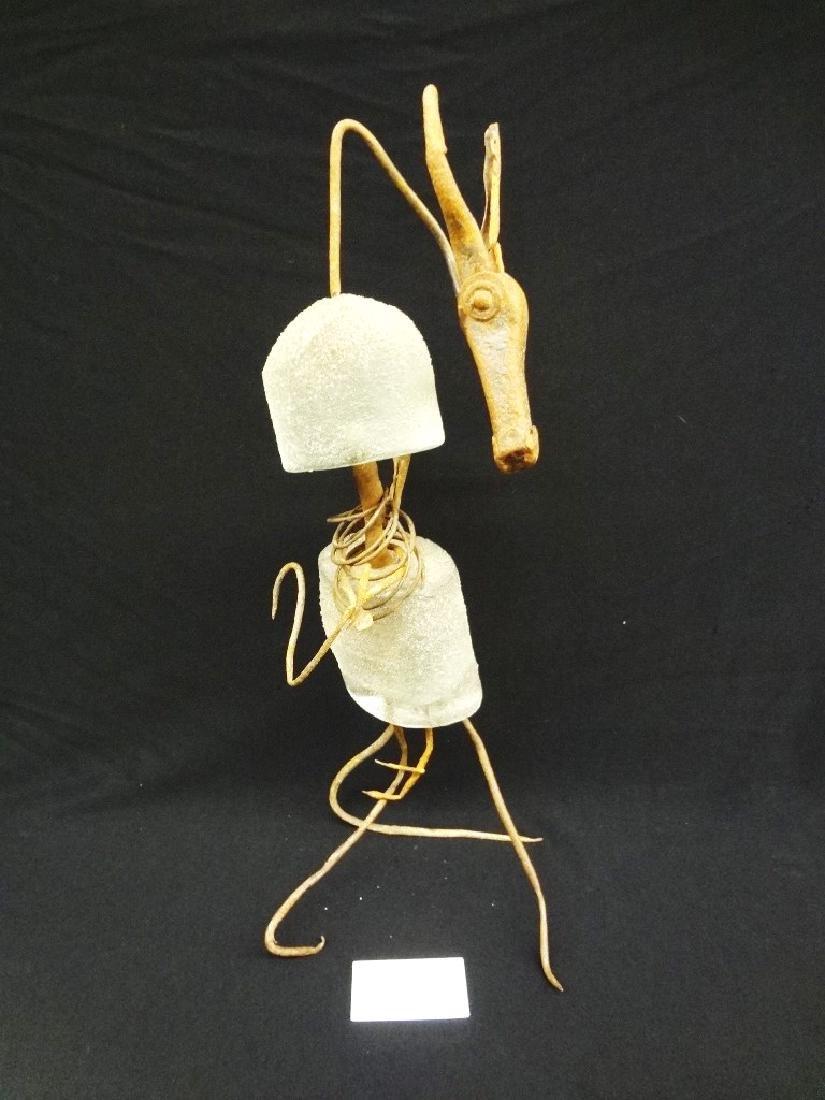 "Kevin Lockau Mixed Media Glass Sculpture ""Antelope"""