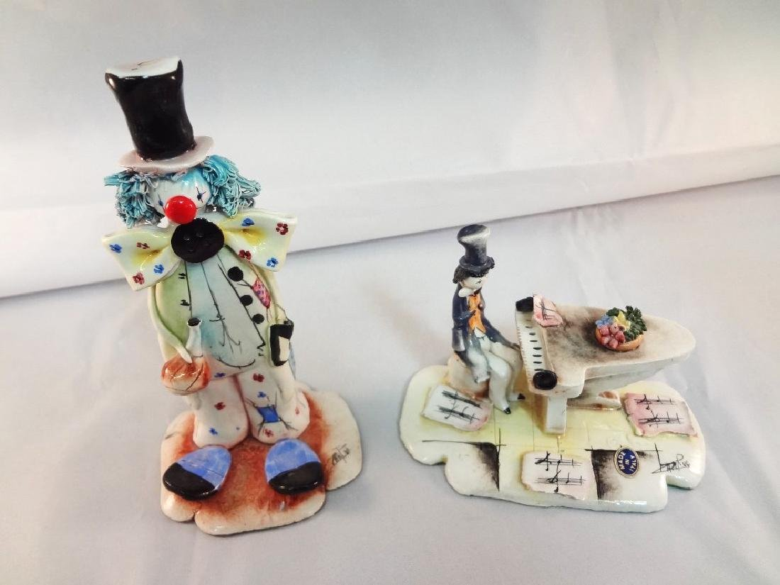 Pair of Capodimonte Clown Figurines Signed