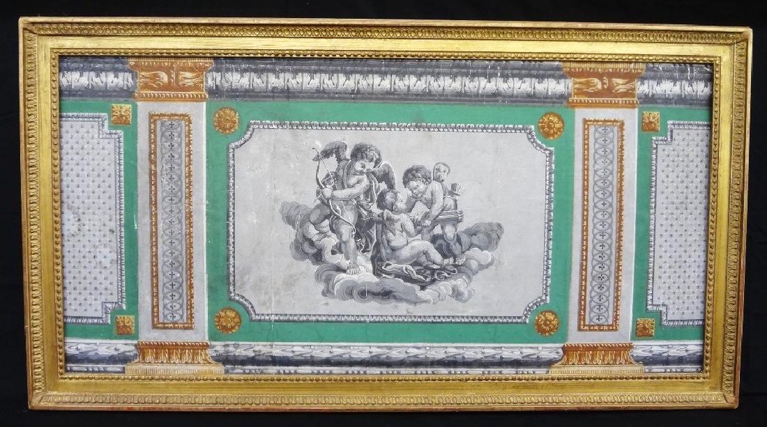 18th Century Wallpaper Tapestry Framed 46 x 25