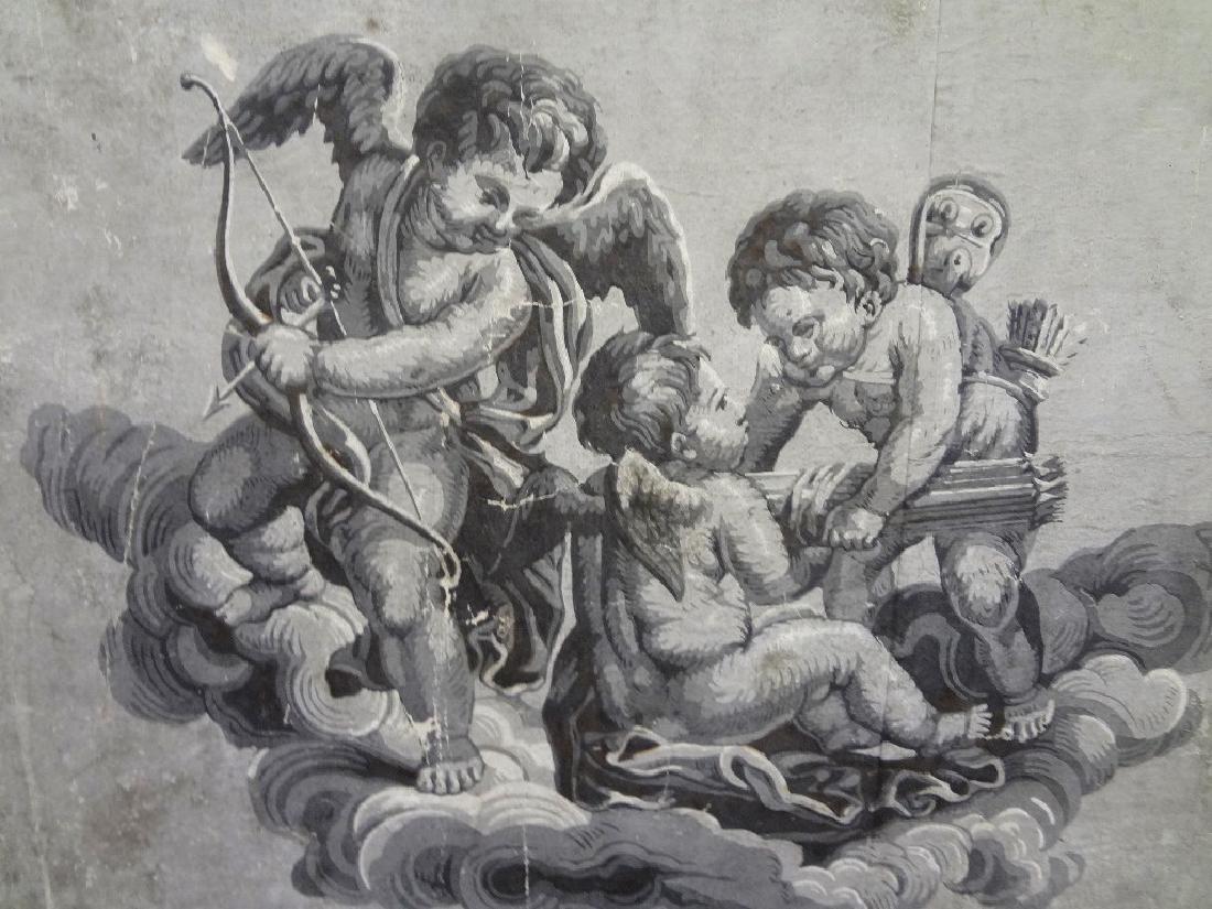 18th Century Wallpaper Tapestry Framed 46 x 25 - 3
