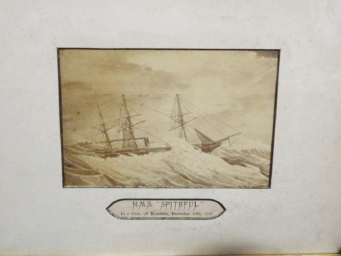 Photogravure HMS Spiteful Matted and Framed