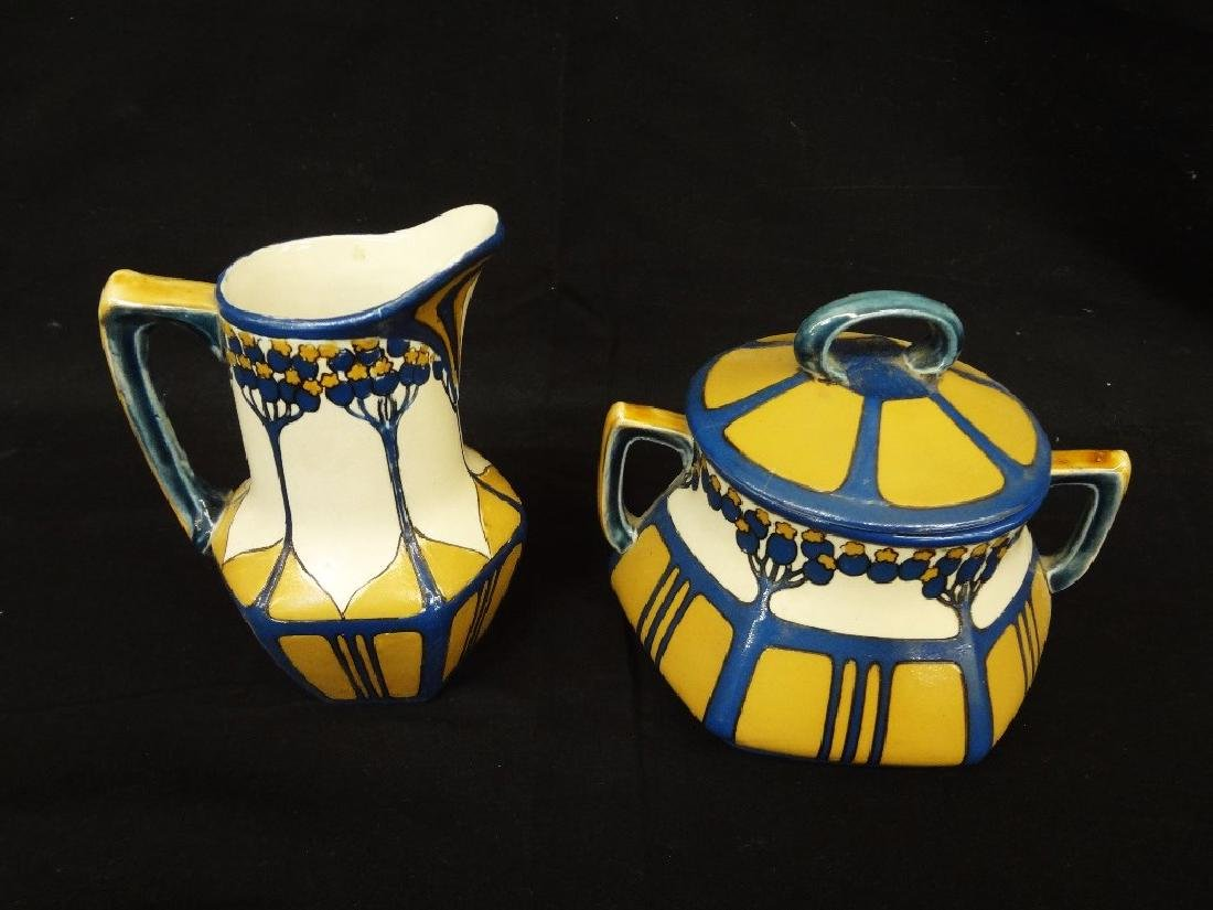 Etched Mettlach Villeroy & Boch Creamer and Lidded