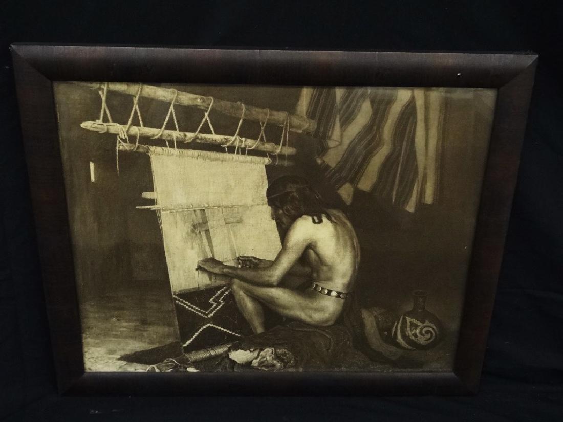 "George DeForest Brush Photogravure ""Indian Weaving"""