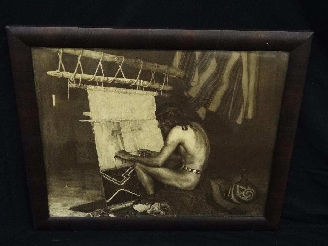 "George DeForest Brush Photogravure ""Indian Weaving"""
