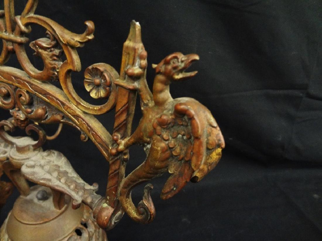 Victorian Era Brass Door Hanging Bell Dragon Relief - 2