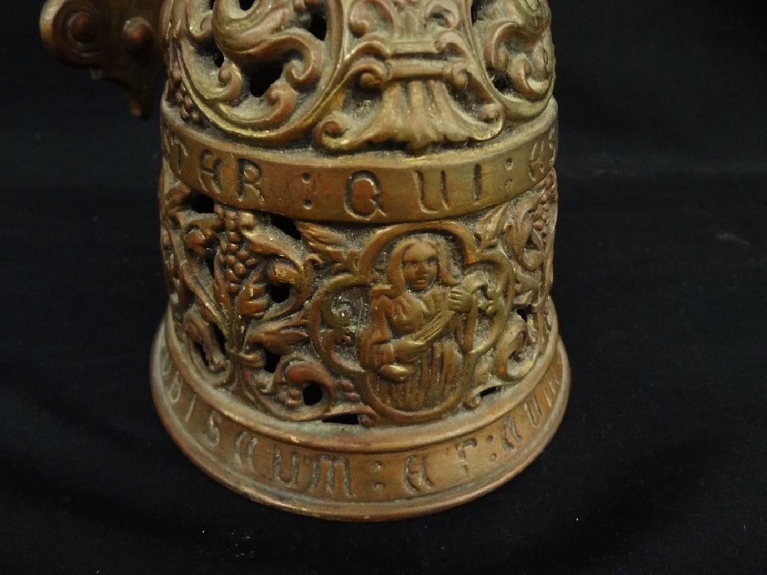 Victorian Era Brass Door Hanging Bell Dragon Relief - 3