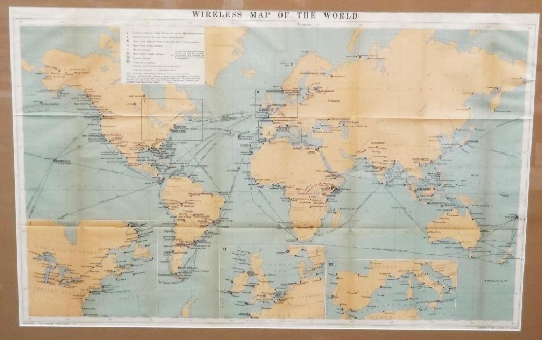 """The Marconi Press """"Wireless Map of the World"""" 1914"""