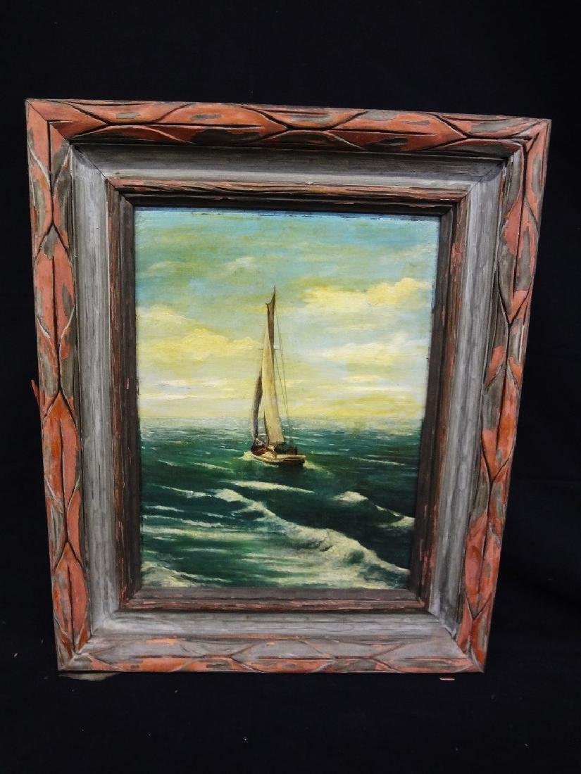 19th Century Original Oil on Board Sailboat Unsigned