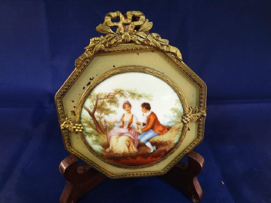 Hand Painted Victorian Porcelain Disk set in Brass