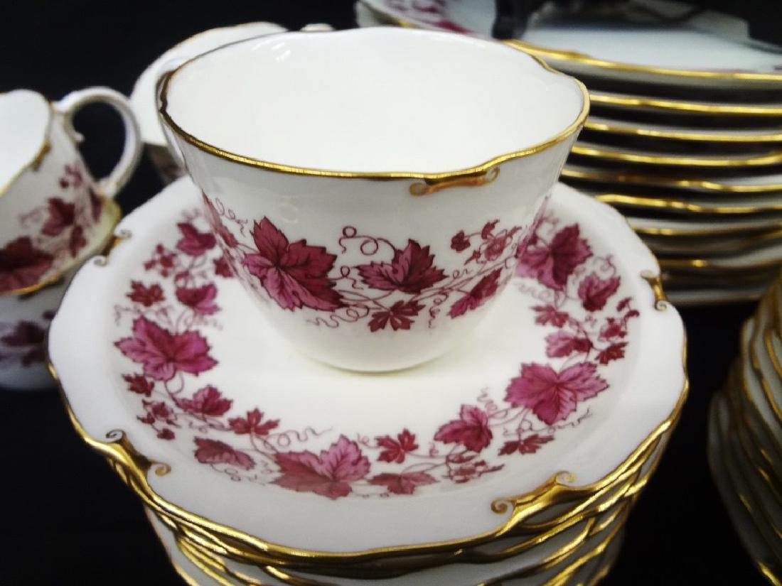 Royal Crown Derby Maple Leaf Maroon China Service Set - 3