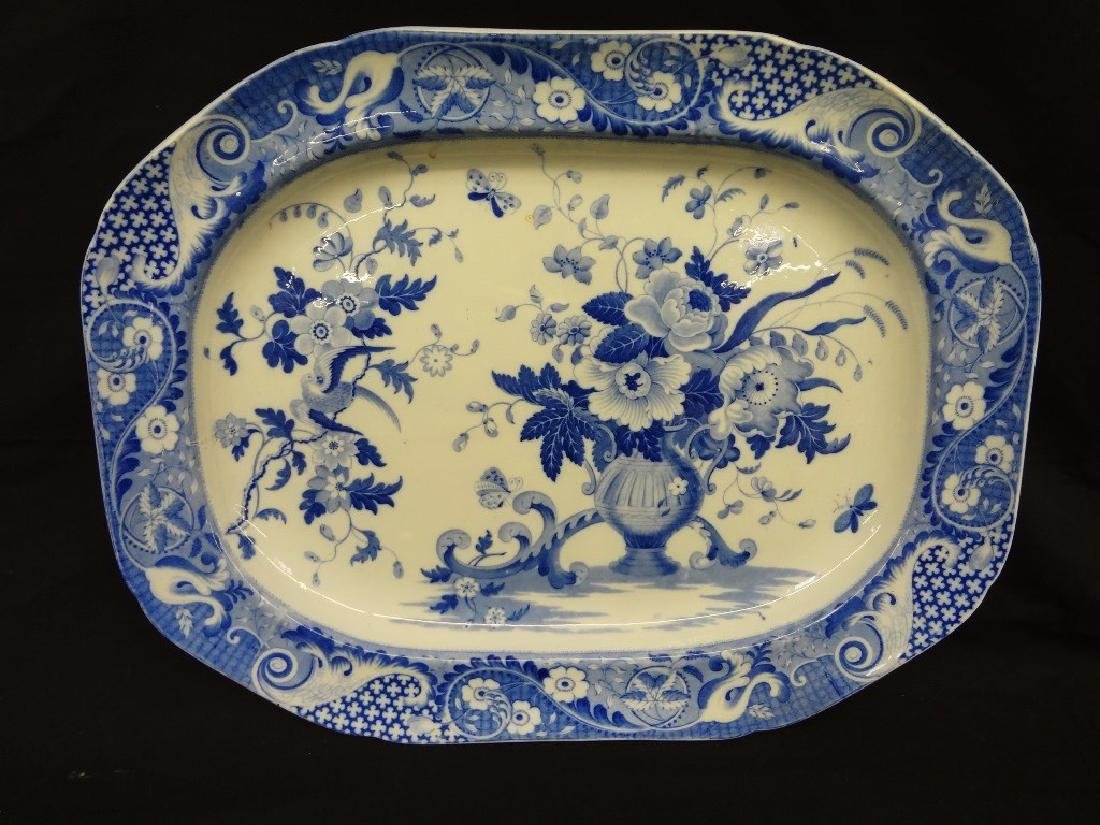 Oversize Blue and White Oval Platter 21.5 x 16.75