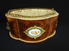 Sevres France China Planter: Inlay Curved Wood and