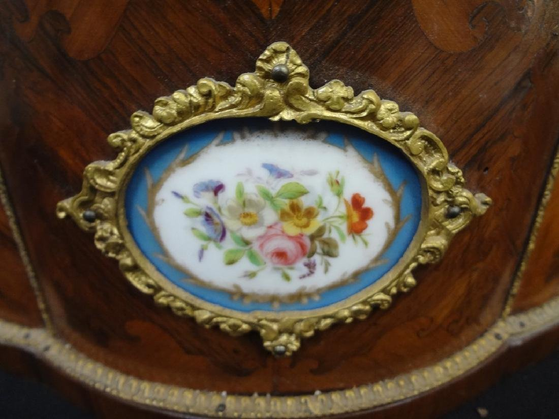 Sevres France China Planter: Inlay Curved Wood and - 4