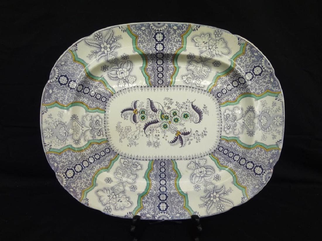 Poonah J. Graniteware Large Serving Oval Platter