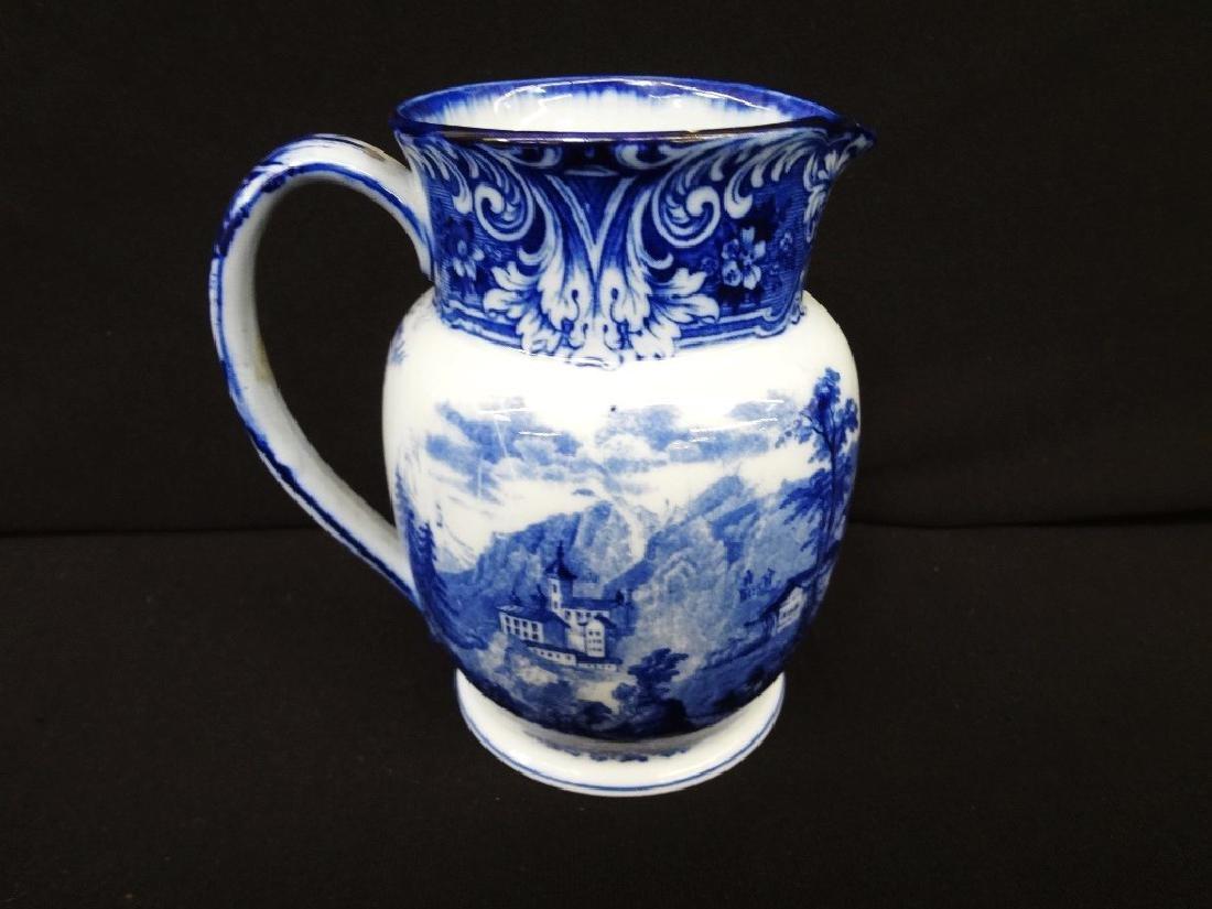 English Flow Blue Pitcher Burslem Geneva China