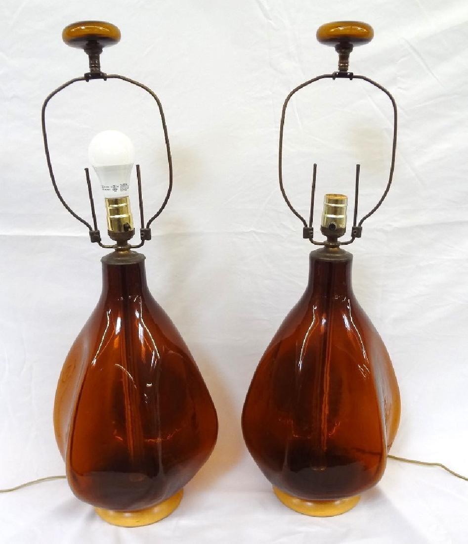 Blenko Glass Mid Century Modern Amber Lamps