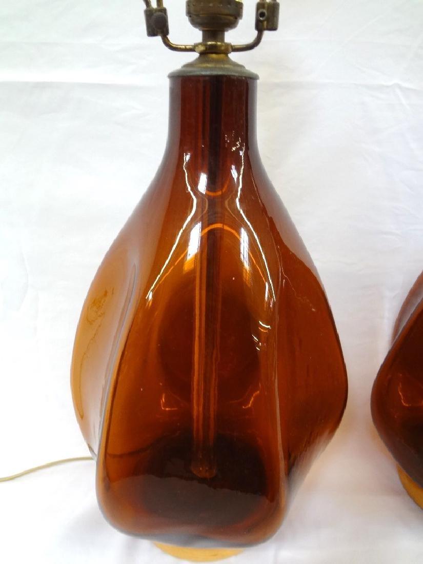 Blenko Glass Mid Century Modern Amber Lamps - 2