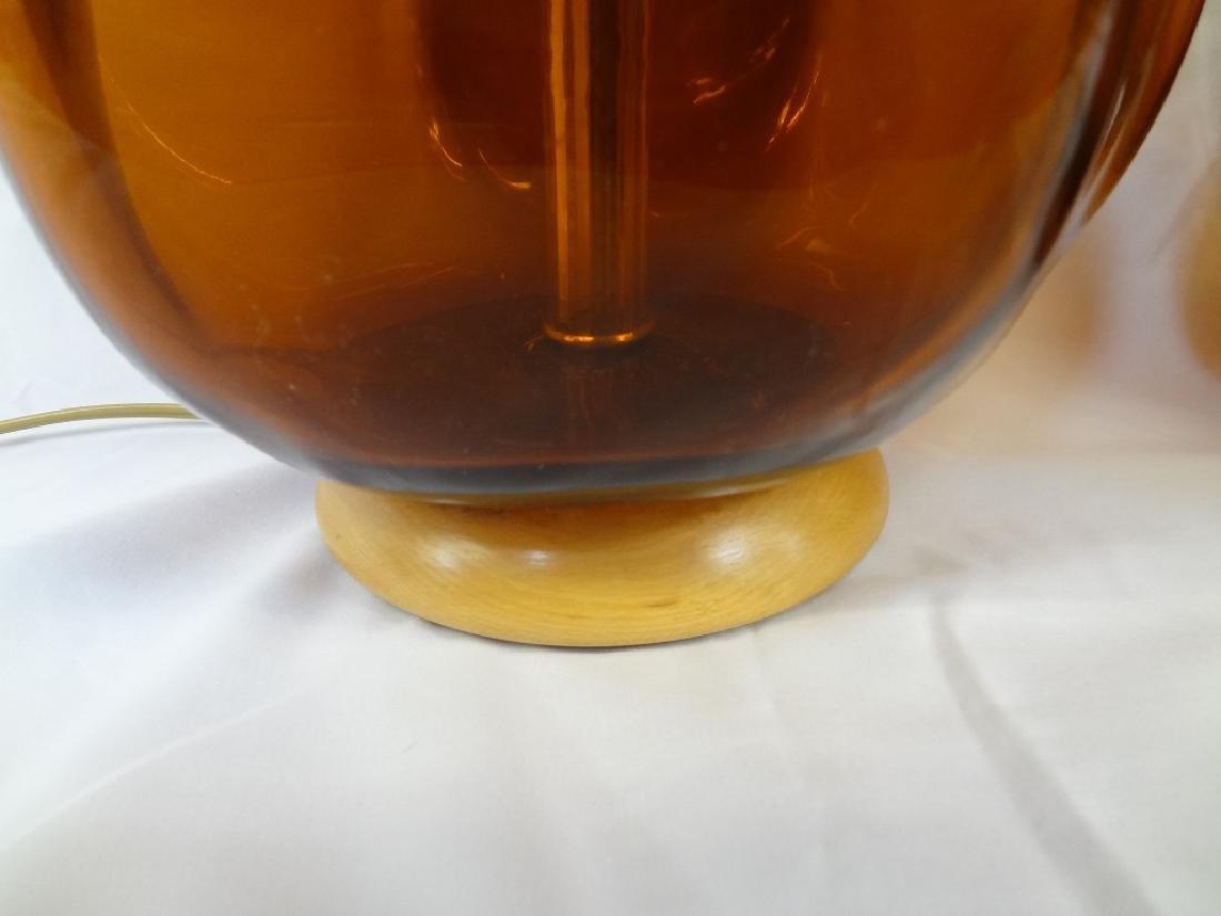 Blenko Glass Mid Century Modern Amber Lamps - 5