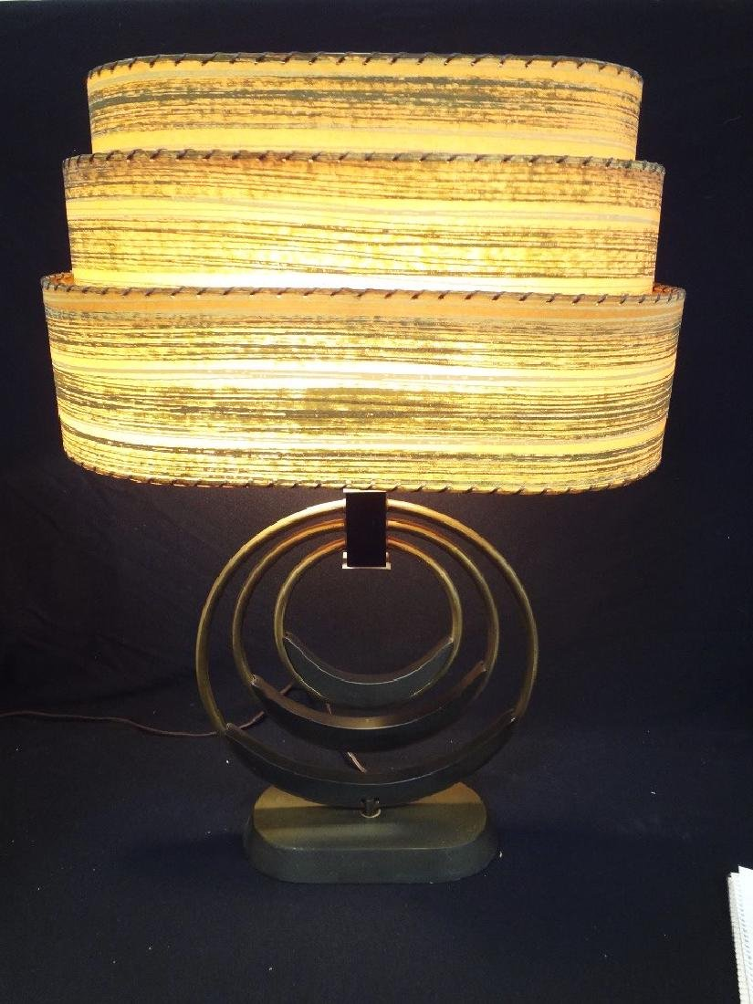 Mid Century Modern Table Lamp Original Shade Brass Base