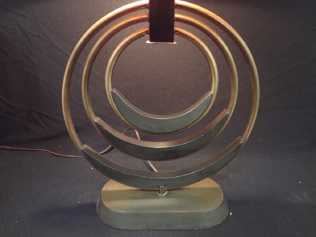 Mid Century Modern Table Lamp Original Shade Brass Base - 2