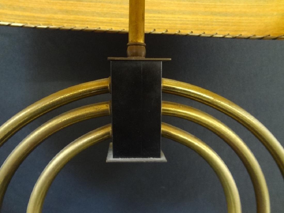 Mid Century Modern Table Lamp Original Shade Brass Base - 5