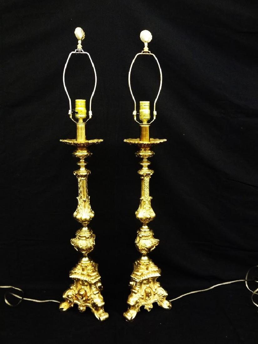 Pair of Ornate Brass Tri foot Lamps