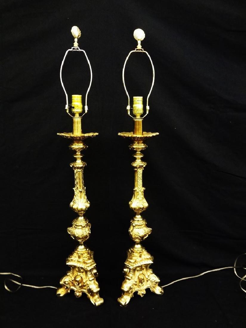 Pair of Ornate Brass Tri foot Lamps
