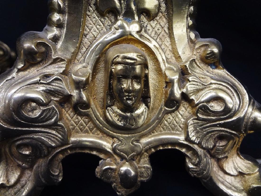 Pair of Ornate Brass Tri foot Lamps - 5