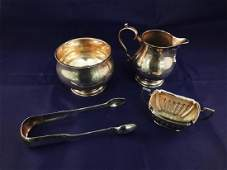 English Sterling Silver Group Tongs Creamer Footed