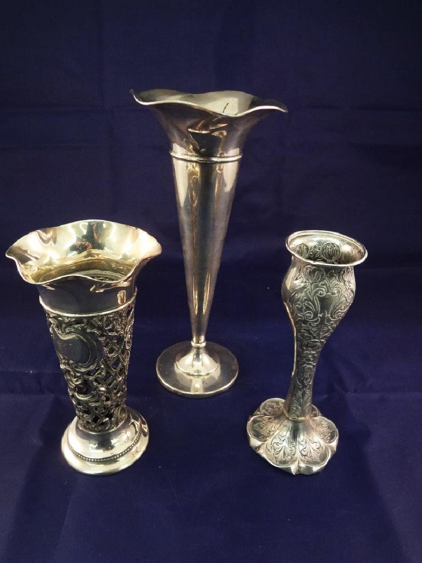 (3) Sterling Silver Reticulated Trumpet Vases
