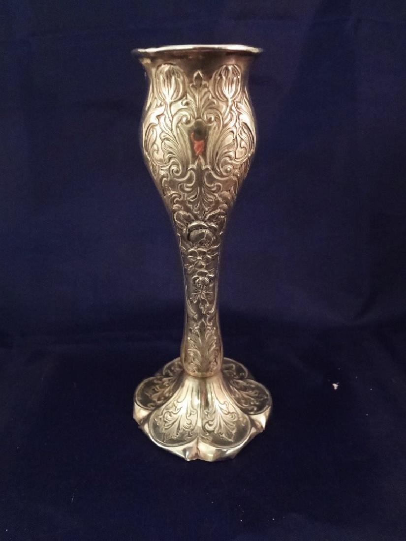 (3) Sterling Silver Reticulated Trumpet Vases - 4