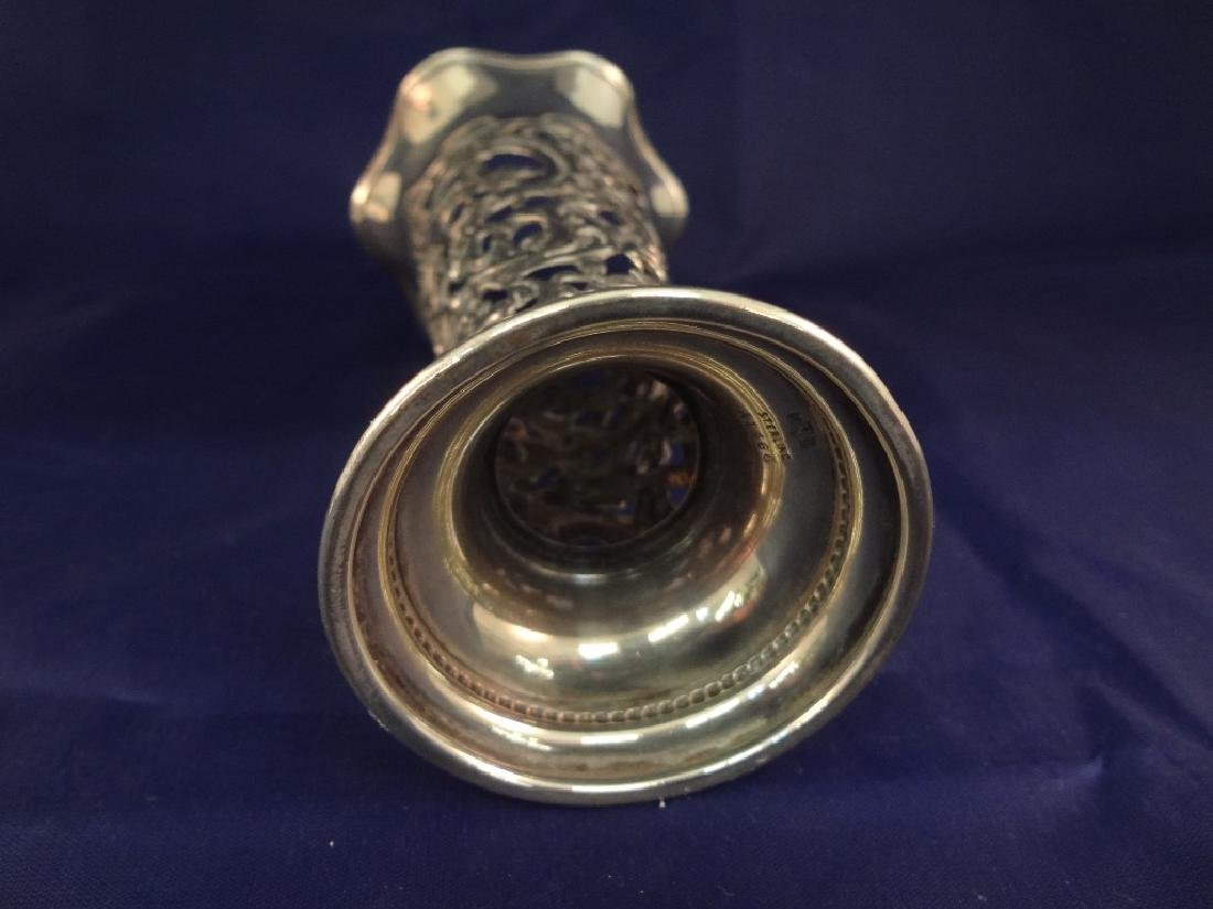 (3) Sterling Silver Reticulated Trumpet Vases - 9
