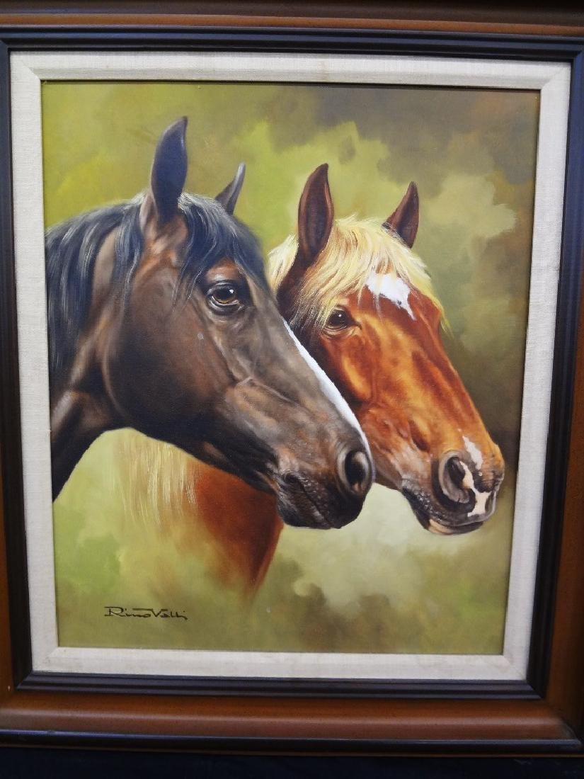 "Rino Valli Oil Painting on Canvas ""Horses"""