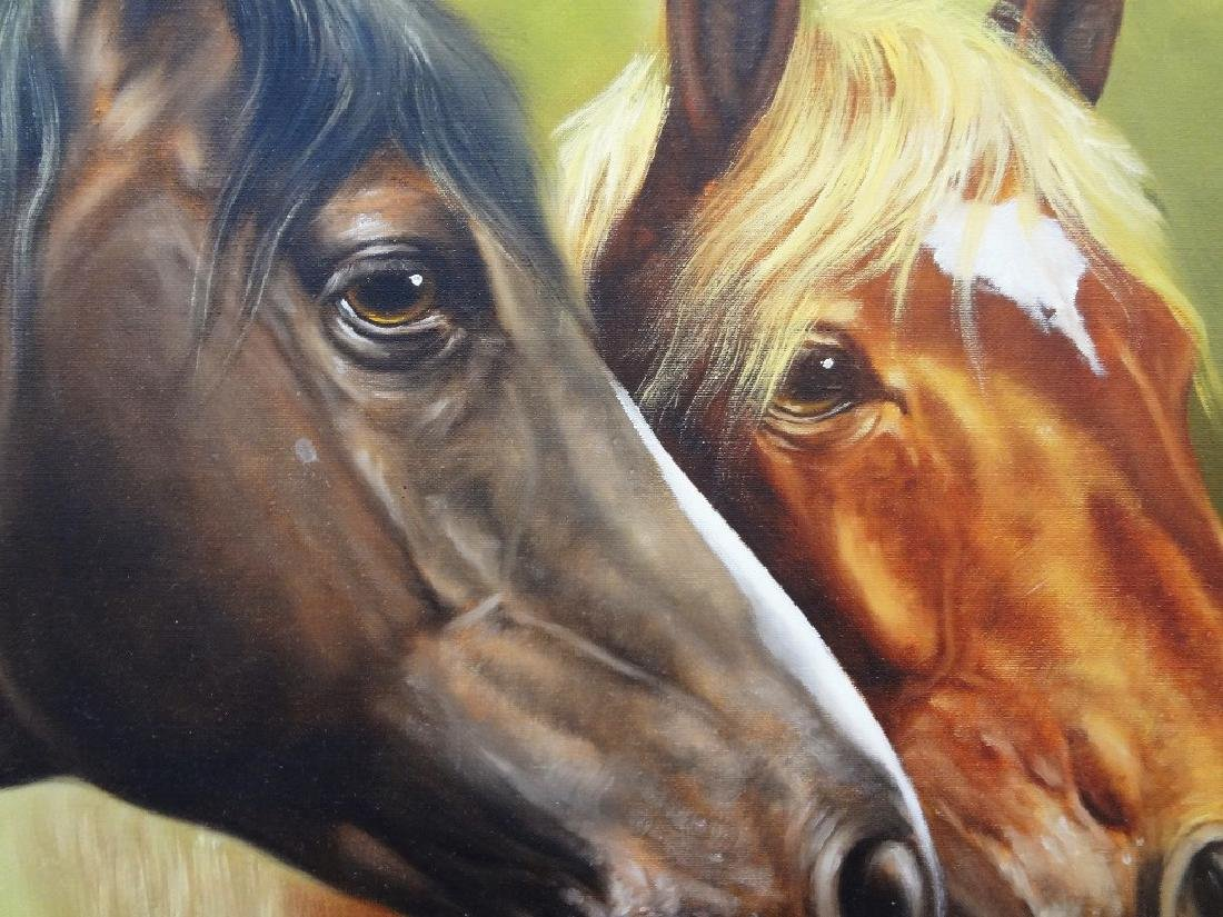 "Rino Valli Oil Painting on Canvas ""Horses"" - 3"