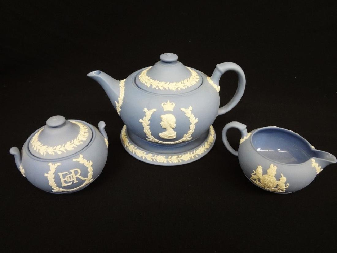 Wedgwood Jasper Blue Tea Pot, Creamer and Sugar