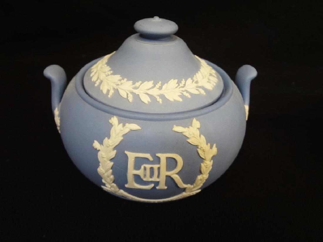 Wedgwood Jasper Blue Tea Pot, Creamer and Sugar - 2