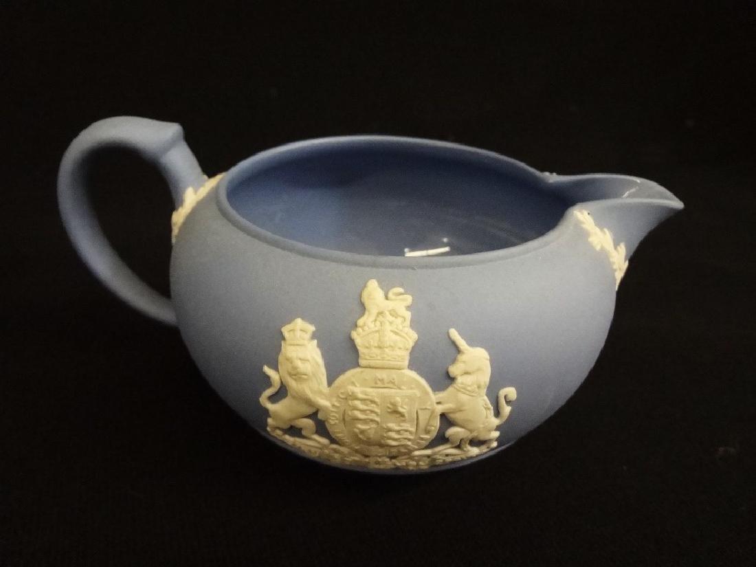 Wedgwood Jasper Blue Tea Pot, Creamer and Sugar - 4
