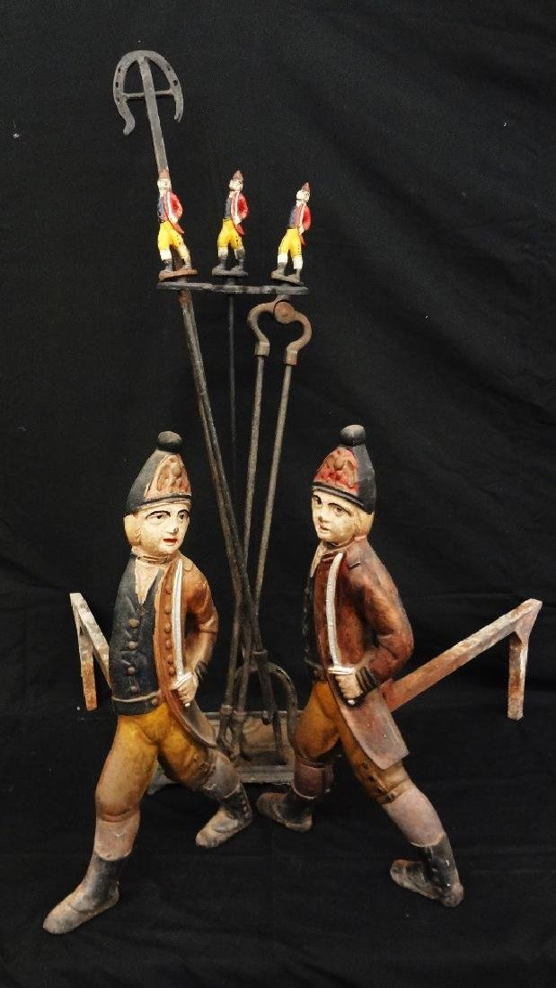 Set of Polychrome Hessian Soldiers Andirons with