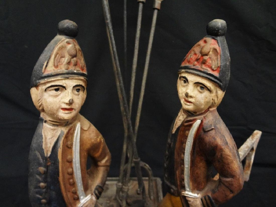 Set of Polychrome Hessian Soldiers Andirons with - 2