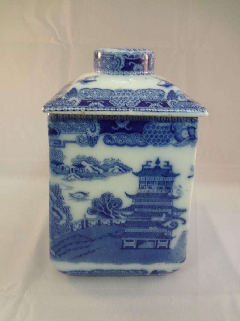 1930's Rington's Porcelain Blue and White Tea Caddy