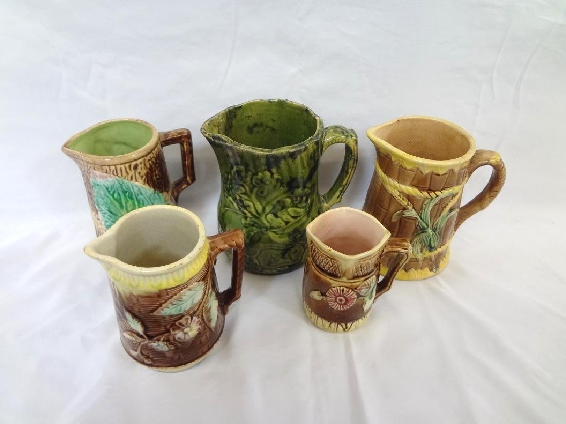 (5) Early Majolica Pitchers