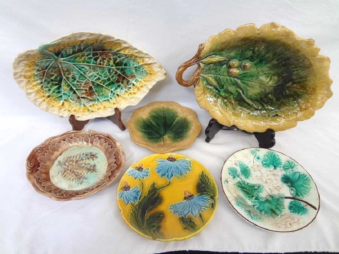 (5) Majolica Plates: Oak Serving Leaf, and others