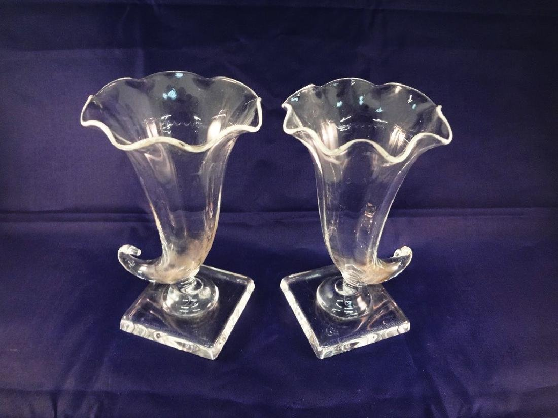 Steuben Glass Pair of Cornucopia Vases