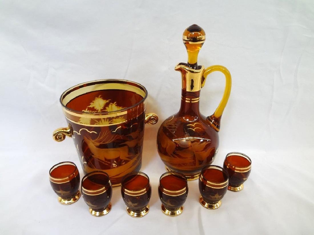 Czech Bohemian Amber Etched Decanter Set with Ice