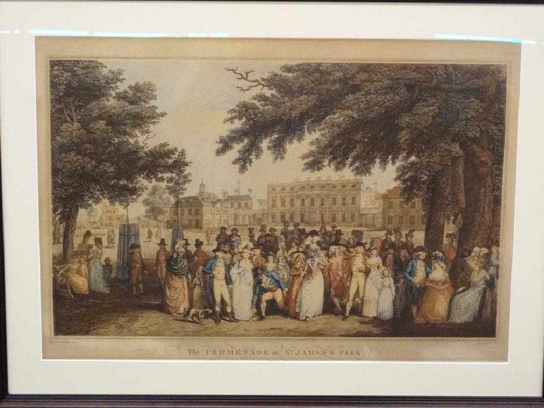 """F.D. Soiron Engraving """"The Promenade in St. James Park"""""""